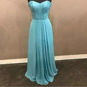 Blue green chiffon dress with pleats